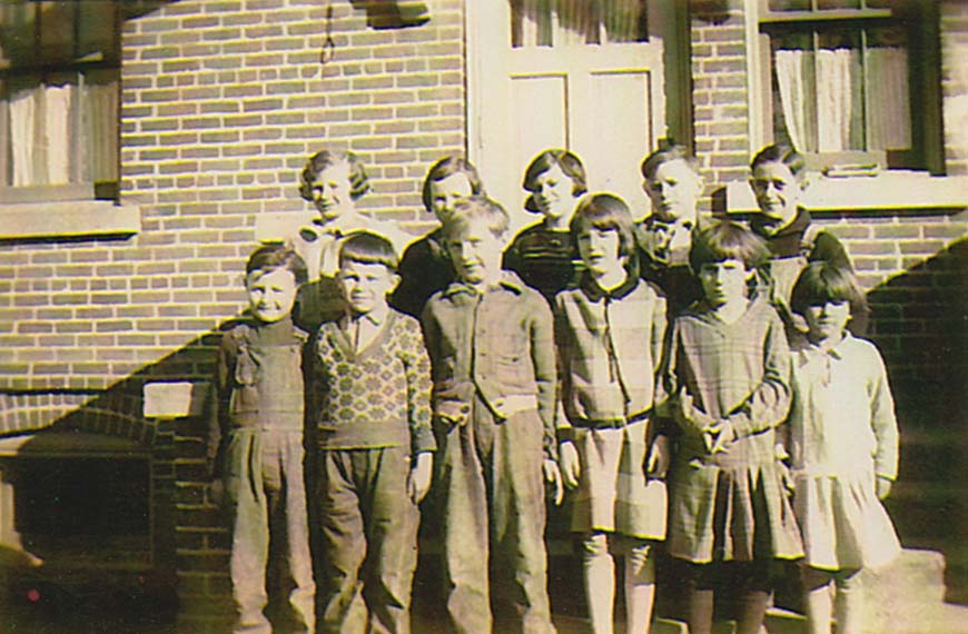 School Children in Front of Orchard Grove School