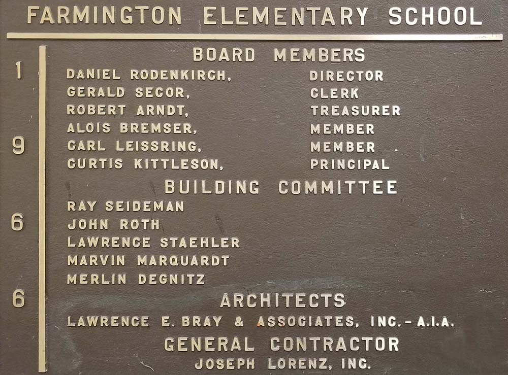 Farmington Elementary School Board & Building Committee Plaque 1966.